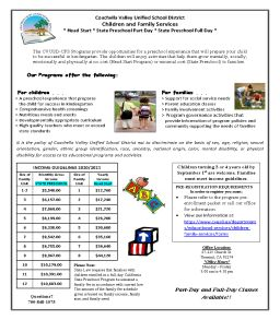 We are now pre-enrolling for Head Start and State Preschool.